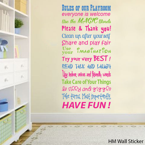 Playroom Rules Removable Wall Art Decal Wall Sticker  in 3 colour ways