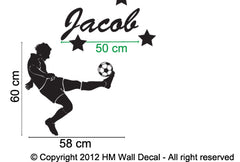 Customize name with football player wall sticker