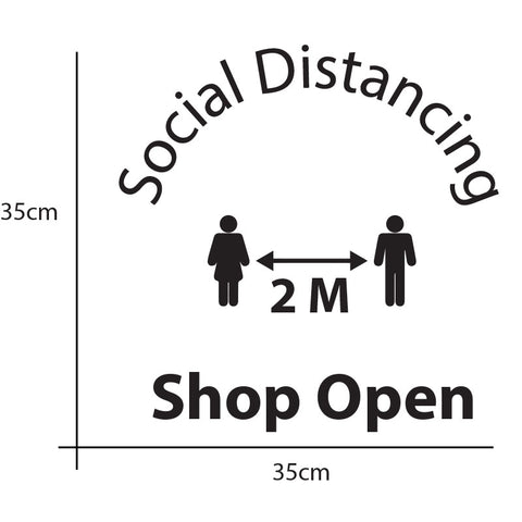 Shop Open window Social Distancing  Vinyl Lettering sticker