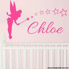 Personalised name & tinker bell with stars Kids removable Wall Sticker Decal