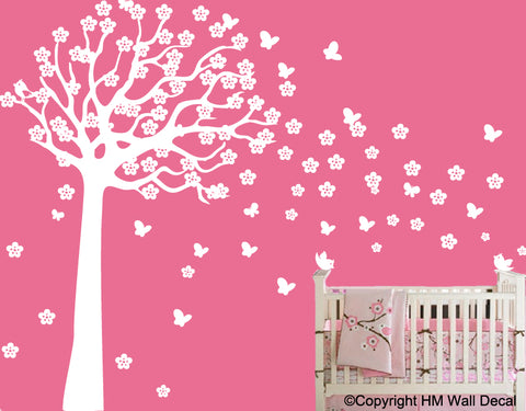 225 cm Height Cot Side tree with butterflies, birds, flowers DIY Removable Wall Sticker