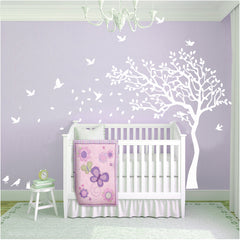 Nursery Cot side tree with birds removable wall decals