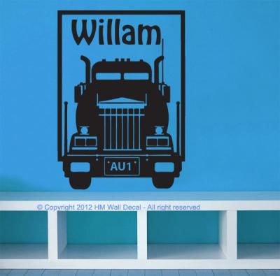 Customise name & Trucks Kids / Nursery removable Wall Sticker Decal