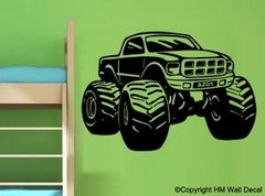 Kids Personalised Monster Truck Wall Art Sticker Removable