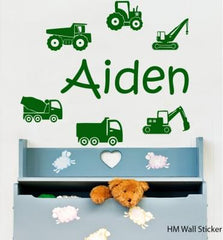 Customise name & construction Trucks and crane Kids / Nursery removable Wall Sticker Decal