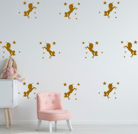 UNICORN & Stars Removable Wall Stickers for Kids or Nursery Vinyl Decal Mural
