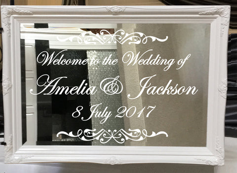 PERSONALISED / Customised wedding mirror Sticker