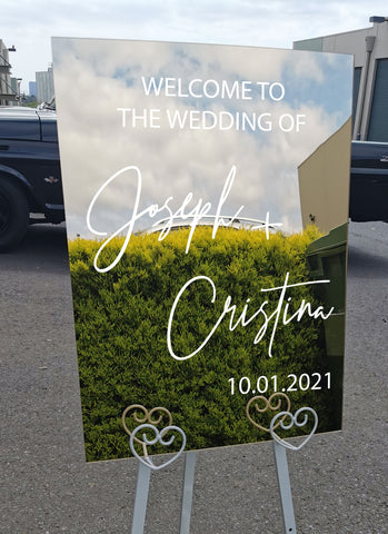PERSONALISED Wedding welcome sign Sticker Mirror wedding decal
