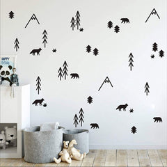 WOODLAND Removable Wall Stickers Vinyl Wall Decal Mural Nursery Kids room decor