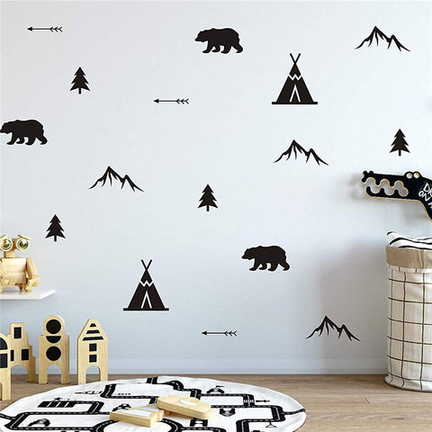 Woodland, Bears Arrows, Teepees, Trees  Removable Wall Stickers Vinyl Wall Decal Mural Nursery Kids room decor