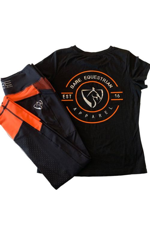 BARE Emblem T-Shirt - Black and Orange