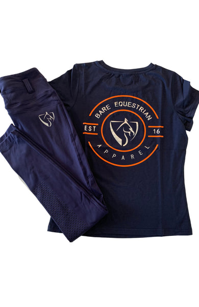 BARE Emblem T-Shirt - Navy, Silver & Orange