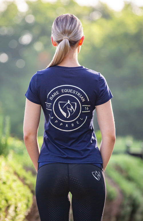 BARE Emblem T-Shirt - Navy and Silver