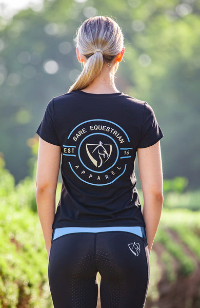 BARE Emblem T-Shirt - Black and Light Blue