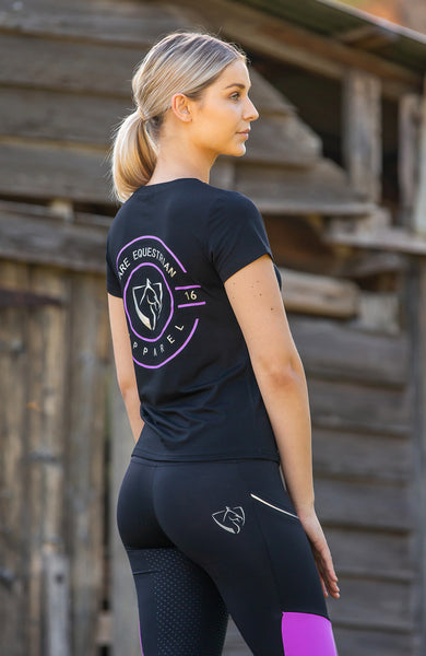 BARE Emblem T-Shirt - Black and Bright Purple