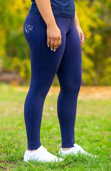 Youth BARE ThermoFit Winter Performance Riding Tights - Navy
