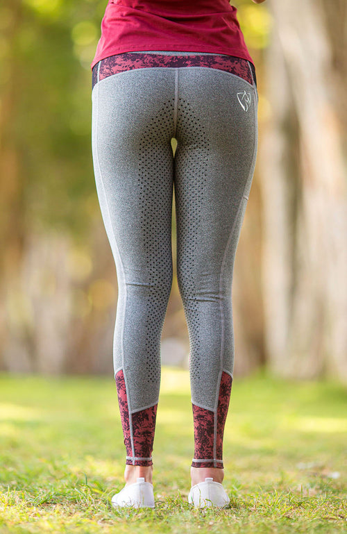 Youth Performance Riding Tights - Grey Garnet