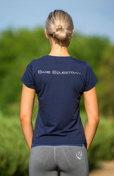 BARE Logo Riding T-Shirt - Navy
