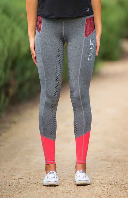 Youth Performance Tights - Grey Peachy