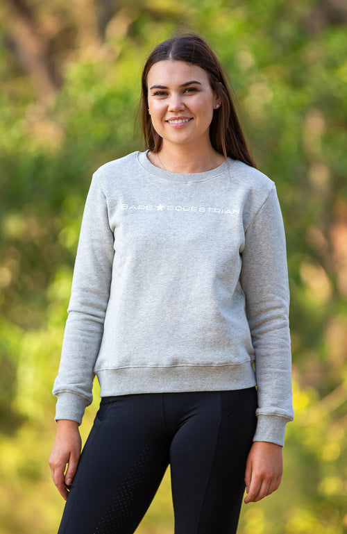 BARE Star Sweater - Heather Grey (White Logo)