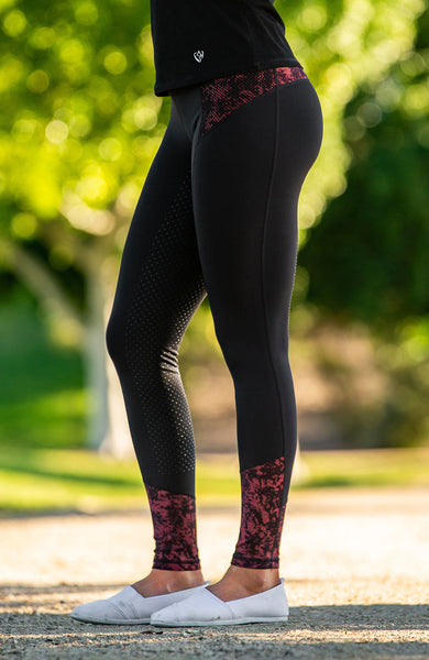 Youth Performance Riding Tights - Garnet