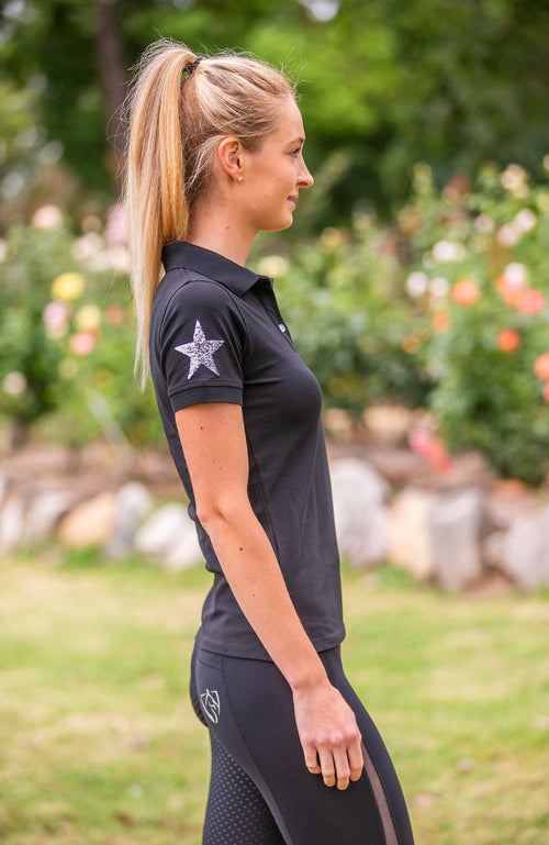 BARE Sequin Polo Shirt - Black