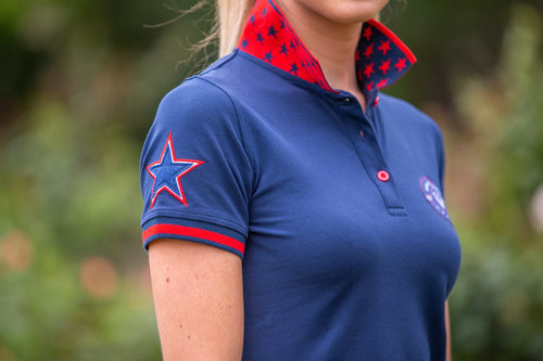 BARE Star Polo Shirt - Navy & Red