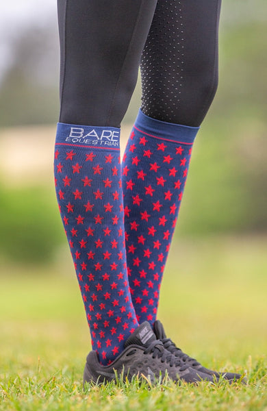 BARE Compression Sock - Star - Navy Adults