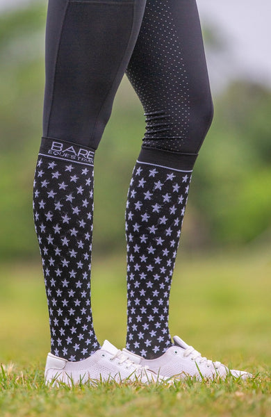 BARE Signature Star Compression Sock - Black Adults