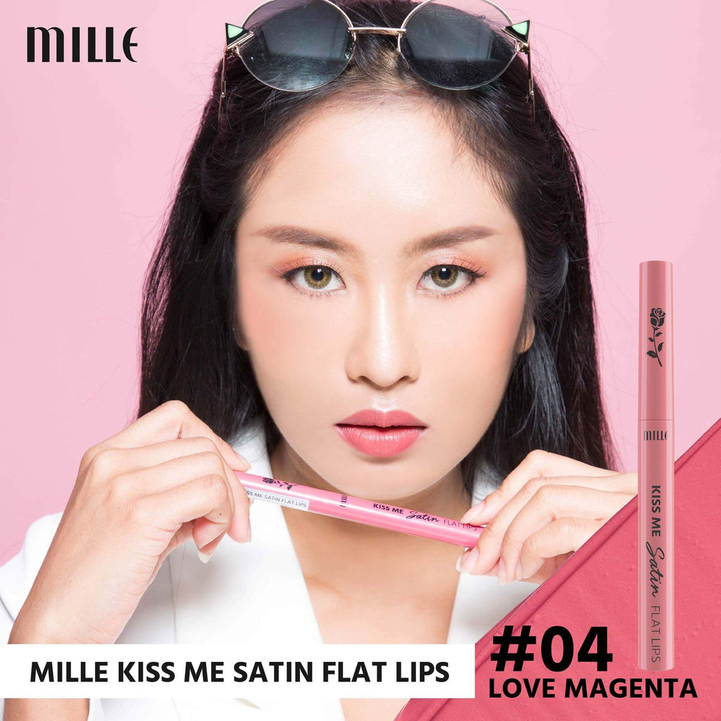 MILLE KISS ME SATIN FLAT LIP #04 Love Magenta
