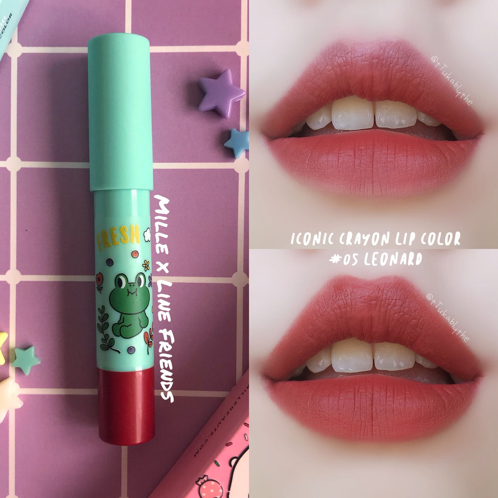 LINE FRIENDS l MILLE ICONIC CRAYON LIP COLOR #05 LEONARD