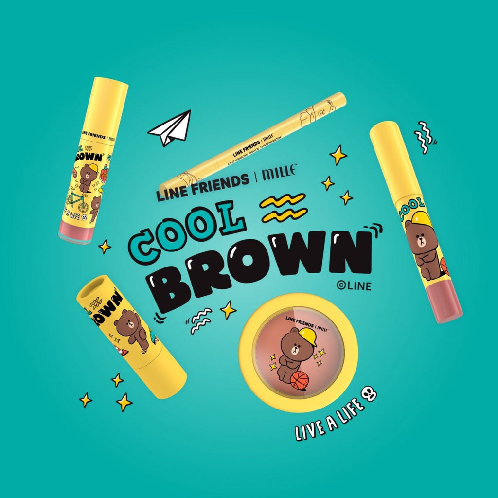LINE FRIENDS l MILLE ICONIC MATTE LIQUID LIP #01 BROWN