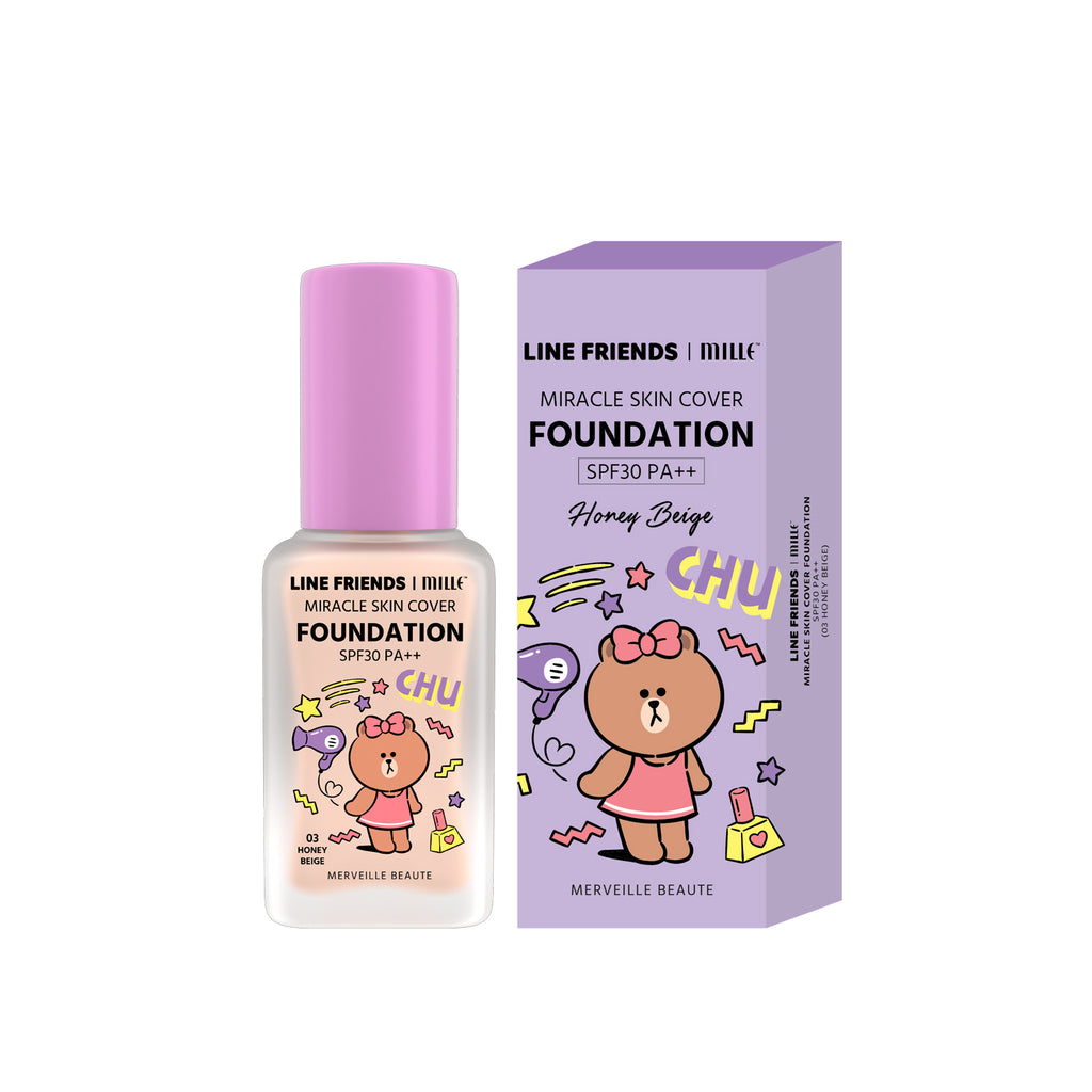 LINE FRIENDS l MILLE MIRACLE SKIN COVER FOUNDATION SPF 30 PA++ #01 SILKY IVORY