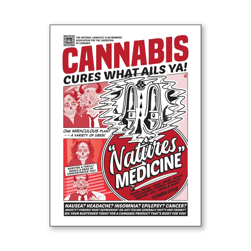 "Cannabis Cures Vinyl Sticker - 3 x 4"" - Cannibal Sativa"