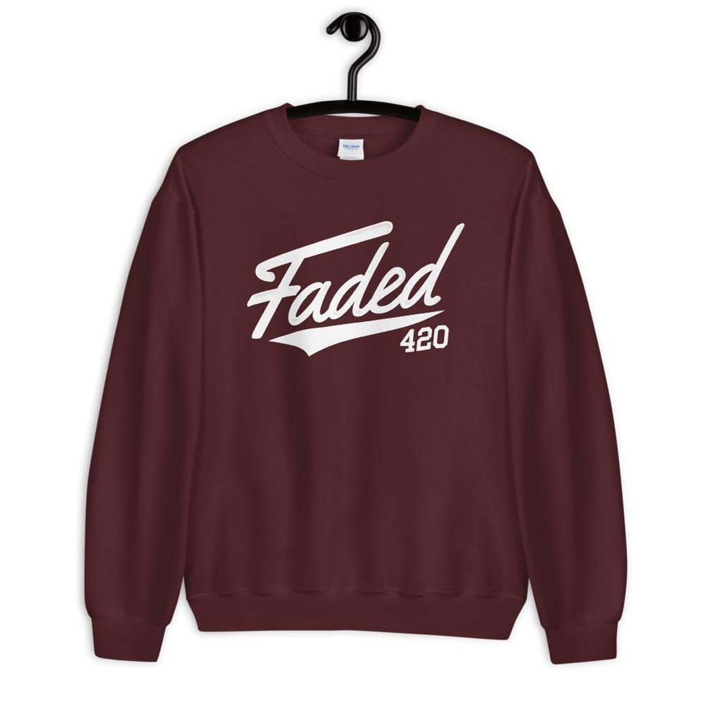 Faded 420 Baseball Script Sweatshirt - Maroon - Cannibal Sativa