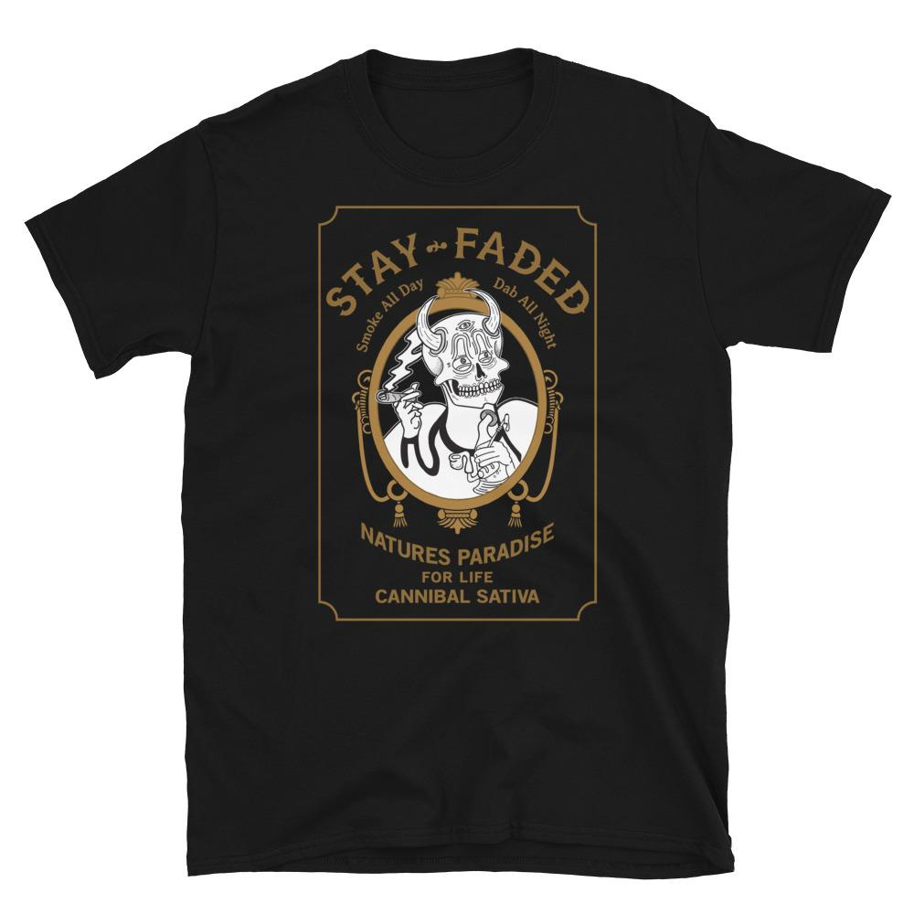 Stay Faded Zig-Zag Parody T-Shirt - Black - Cannibal Sativa
