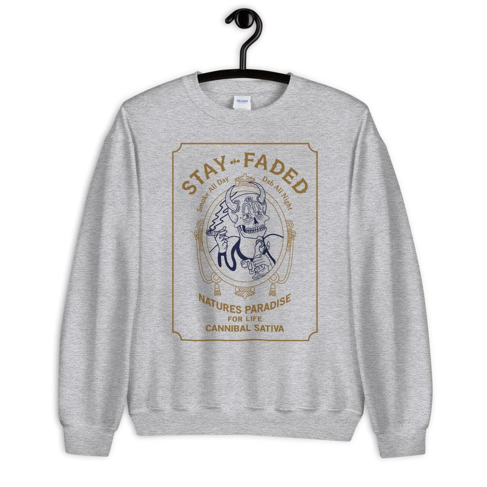 Stay Faded Zig-Zag Parody Sweatshirt - Heather Grey - Cannibal Sativa
