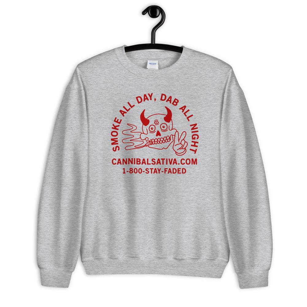 1-800-STAY-FADED Sweatshirt - Heather Grey - Cannibal Sativa