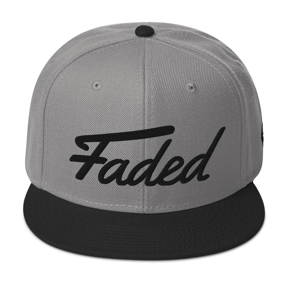 Faded Snapback Hat - Grey/Black Trim (Black Stitching) - Cannibal Sativa