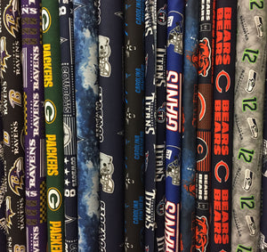 We carry a wide selection of sports fabrics including NFL and MLB prints.  See if we have your favorite team!