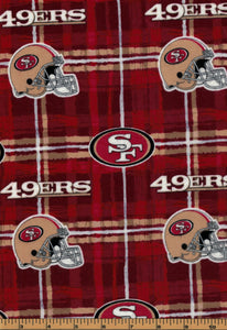 San Fransisco 49ers Football Fabric- NFL - Flannel Fabric - by Fabric Traditions