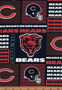 Chicago Bears Fabric- NFL - 100% Cotton High Quality Fabric- by Fabric Traditions