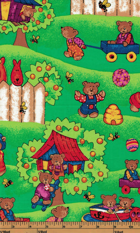 Bears Playing on Green Background - Fat Quarter