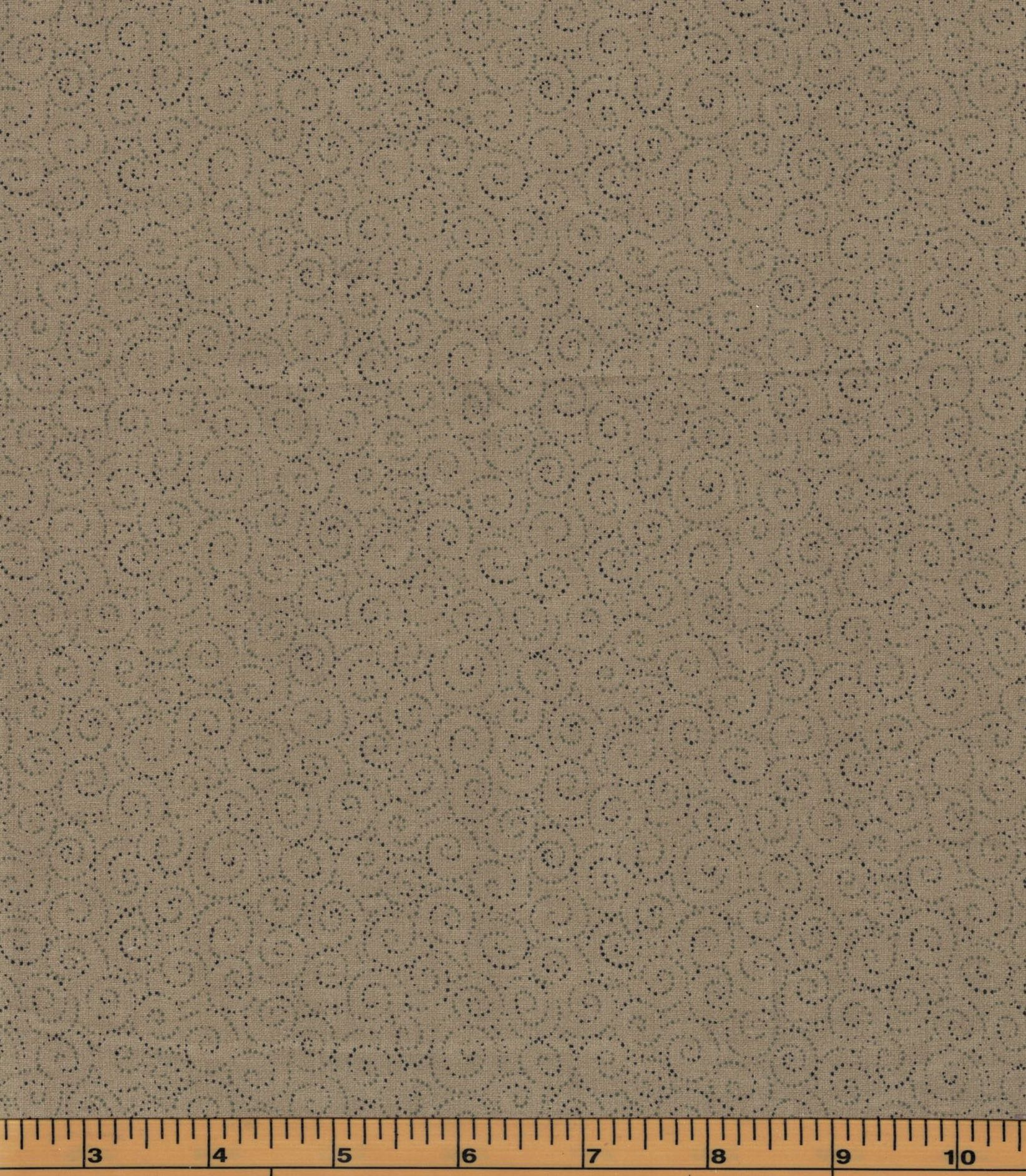 Brown Swirls on Tan Background - Fat Quarter
