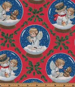 Small Angels Snow Globes - Fat Quarter