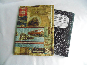 Composition Book Cover - 100% Cotton, Train Themed