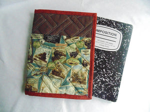 Composition Book Cover - 100% Cotton, Train Print