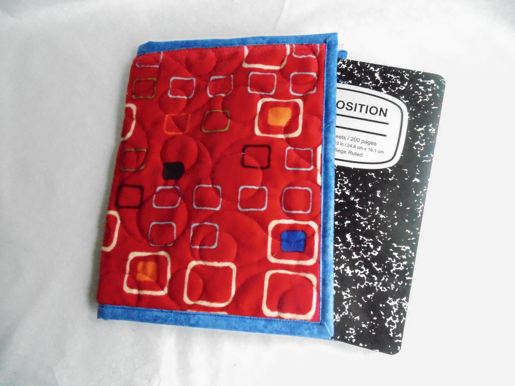 Fabric Composition Book Cover Tutorial ~ Composition book cover minky fabric red geometric print