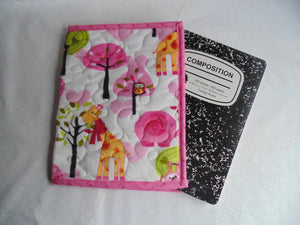 Composition Book Cover - Minky Fabric, Animal Themed
