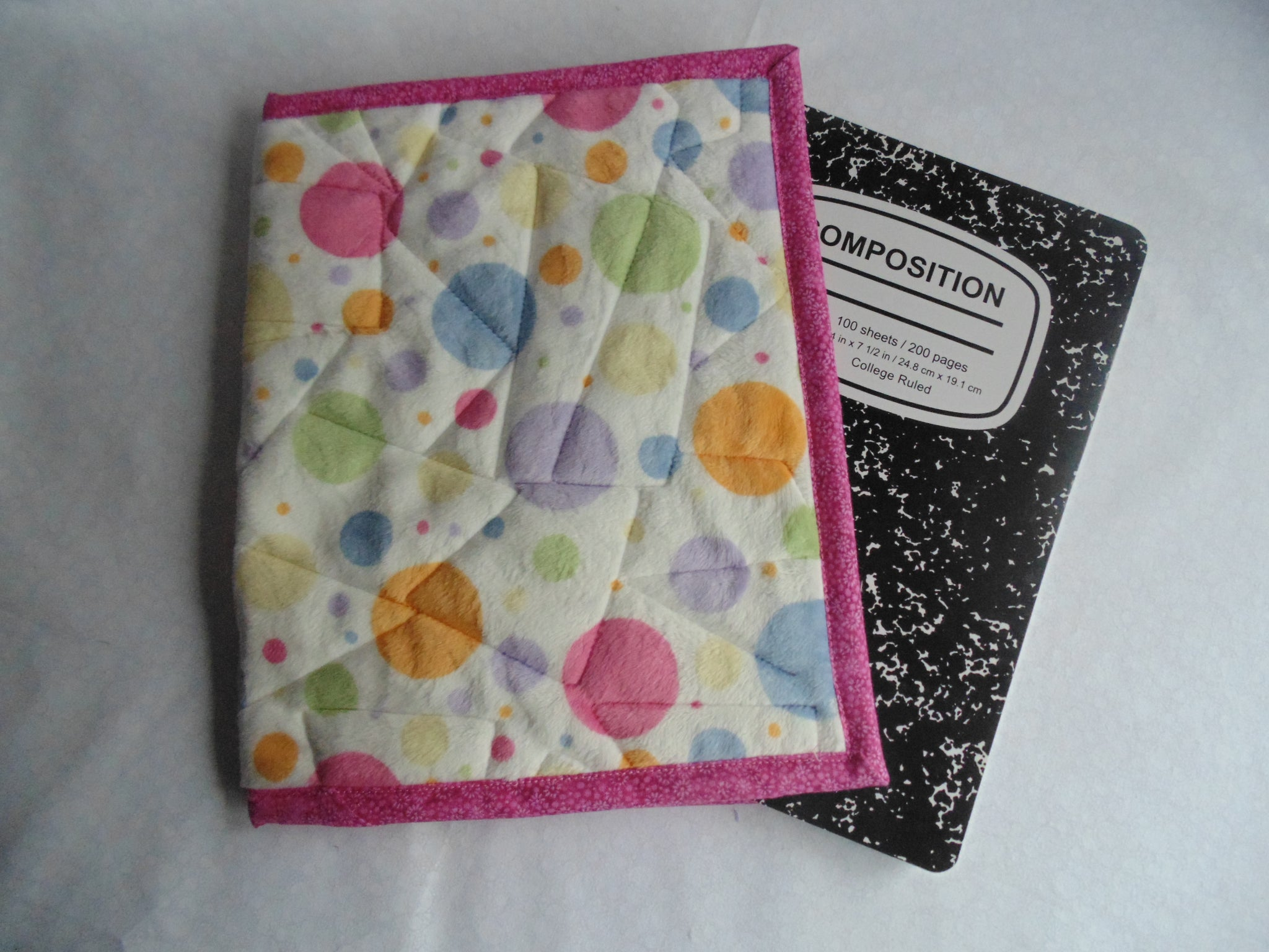 Fabric Composition Book Cover Tutorial ~ Composition book cover minky fabric polka dot print u quilts on